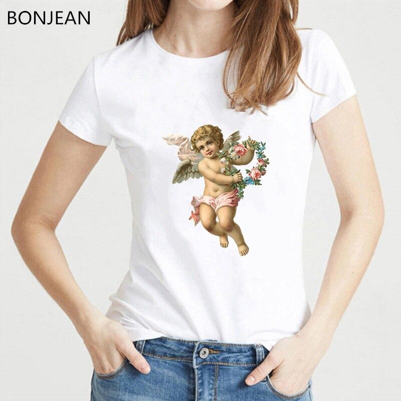 Women tshirt 2019 harajuku kawaii Cupid Angel shirt women aesthetic t shirt flowers angel top female t shirt drop shipping in T Shirts from Women 39 s Clothing