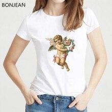 Women tshirt 2019 harajuku kawaii Cupid Angel shirt women aesthetic t flowers angel top female t-shirt drop shipping