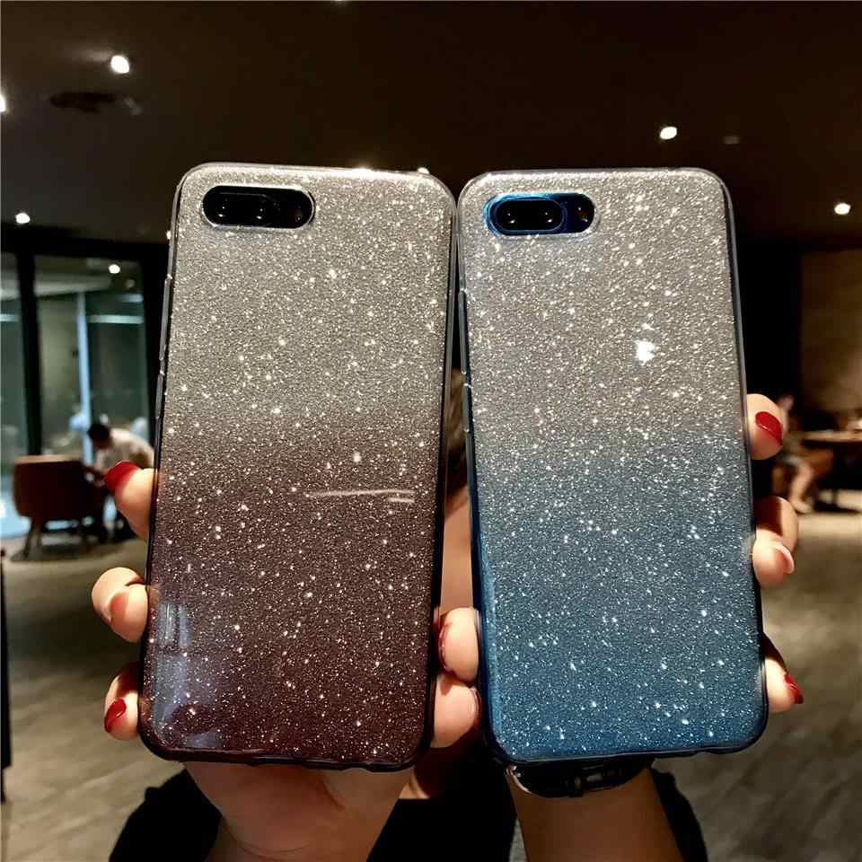 Glitter Texture Gradient Case For Honor 10 9 8 8X 7X 7A Shining Cover Y6 Prime Y7 Y9 2018 Huawei Mate 20 Pro X P30 P20 Lite P10