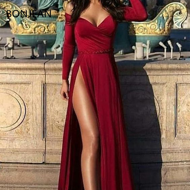 Sexy Off-Shoulder Long Sleeves Long Burgundy Prom Dresses with Split dress fully lined 4 bones in the bodice Evening Dress
