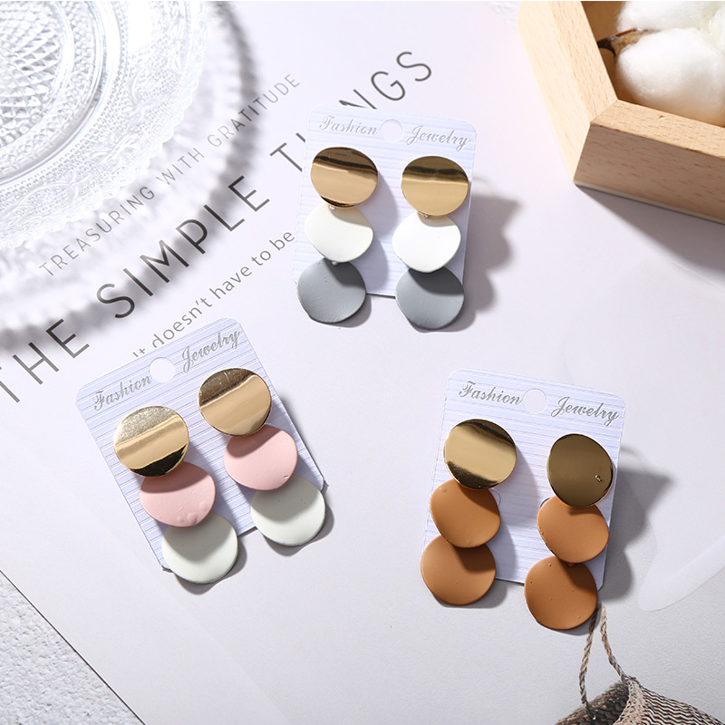 Elegant Round Metal Earrings for Women 2018 New Geometric Alloy Earrings Fashion Jewelry Gift 3 Colors colors fashion metal acrylic earrings color assorted 5 pair pack