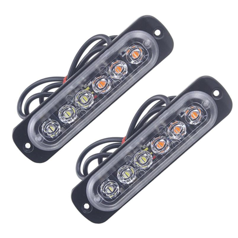 Ámbar 2x 6 LED de luces de baliza de emergencia coche camión Flash Estroboscópico Bar advertencia de peligro