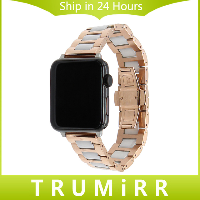 Ceramic + Stainless Steel Watchband for 38mm 42mm iWatch Apple Watch Band Wrist Strap Butterfly Buckle Link Bracelet + Adapters
