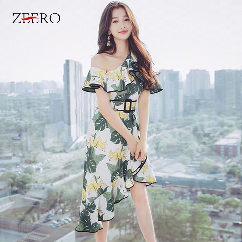 Runway Women Dress 2019 Summer Elegant Sexy Fashion One Shoulder Butterfly Sleeve Fresh Printed Asymmetrical Women