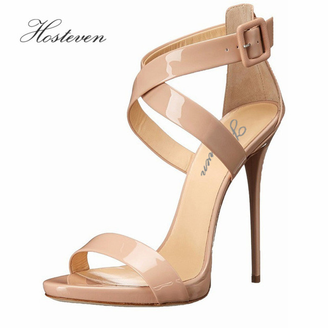 Hosteven Brand Women's Shoes Sandals High Heels Sexy Woman Patent Leather Pumps Women Shoes Lace Up Shoes Size 34-46