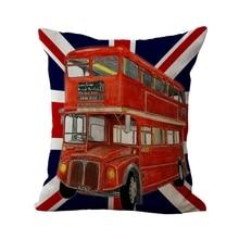 Creative America England Pattern Cushion Cover Cotton Linen Pillow Case Cushion For Home Decor 45cmX45cm