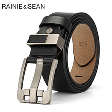 RAINIE SEAN Pin Buckle Belt Men Real Leather Square Belts Jeans Male Vintage Black Brand Genuine Cowhide