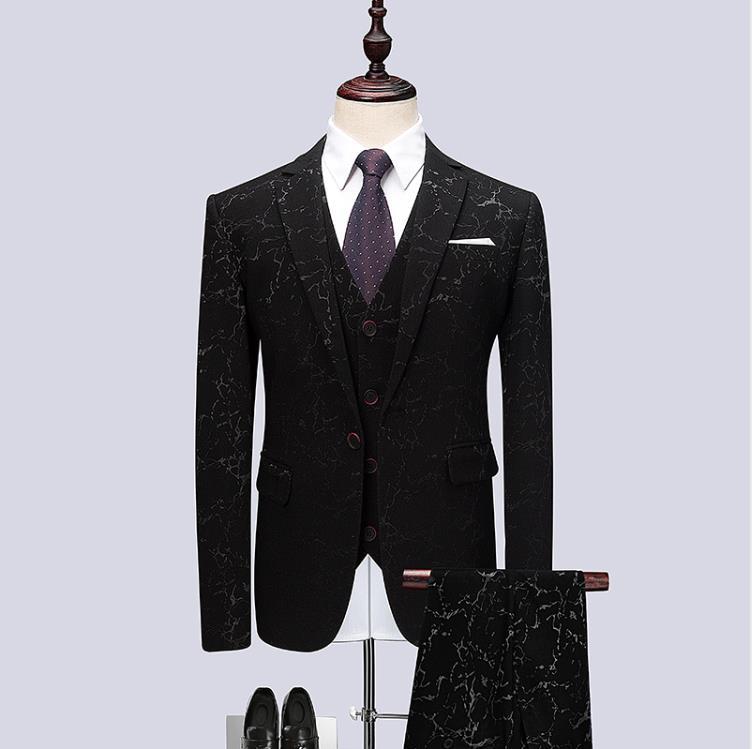 (Jacket+Vest+Pants) 2019 Men Black Suits Fashion Party Dresses Men's Slim Fit Business Men Suit Tailored Fit Suits Dinner Suit