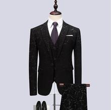(Jacket+Vest+Pants) 2019 Men Black Suits Fashion Party Dresses Mens Slim Fit Business Suit Tailored Dinner