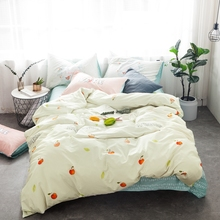 Cute Apple Duvet Cover Set 100% Cotton Bedding Sets For Adults Green Bed Sheets Pillow Case Queen King Size Bedding Set Coverlet