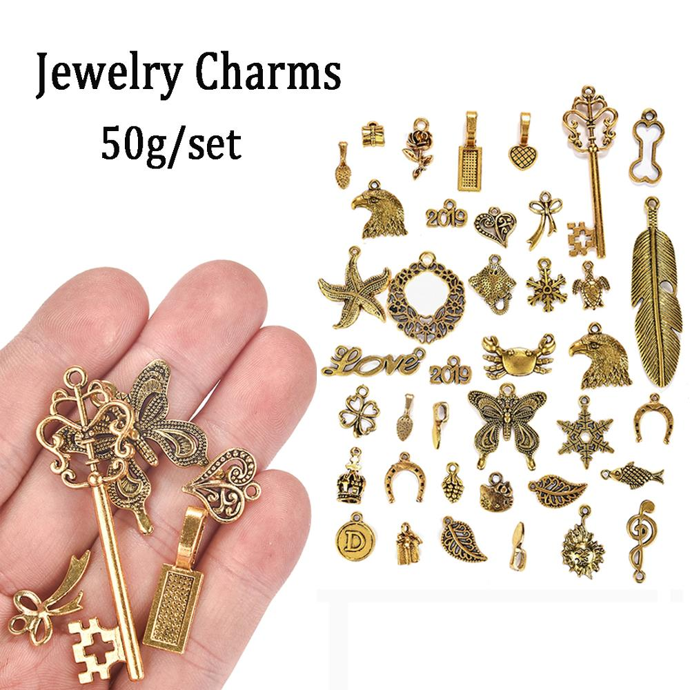 50g/set Mixed Tree Love Metal Alloy Hollow Charm Antique Gold Assorted Charms Pendants DIY Jewelry Making Craft Finding DIY Bags