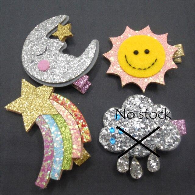 20 pcs lot handmade sun moon rainbow and cloud glitter felt hair