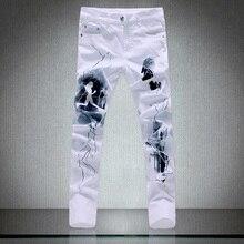 2017 new Men's development leisure straight elastic jeans Men's pants fine quality 100% cotton printing jeans males large dimension 28-40