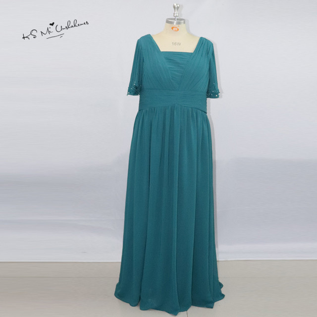 2017 Plus Size Turquoise Mother of the Bride Dresses Long Chiffon ...