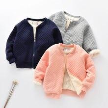 Г. Осенне-зимнее теплое хлопковое пальто для маленьких девочек Детская бархатная утепленная верхняя одежда, куртка детская одежда для мальчиков, От 0 до 2 лет