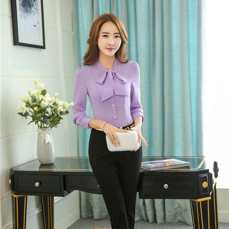 Formal Women Business Suits with Pants and Blouses Sets Fashion Ladies Light Purple Shirts Tops Elegant Office Uniform Styles