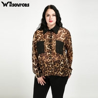 Witsources women leopard print chiffon plus size blouses shirts double pockets long sleeve casual oversized blouse SD4292