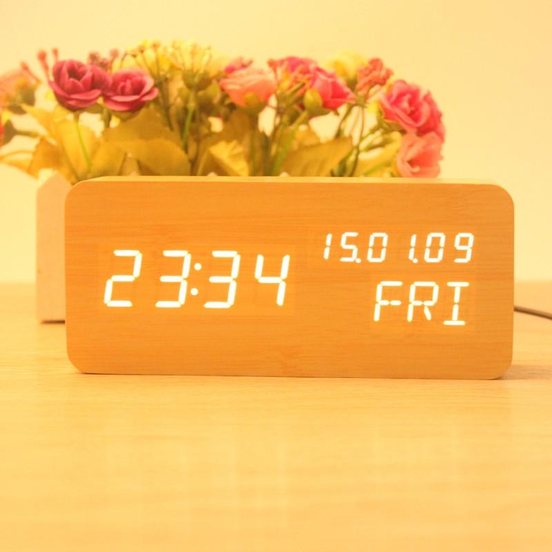 16*7*4 cm Square rectangle minimalist alarm clock wooden digital clock Week Thermometer LED Digital show clock Sound Control