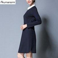 Autumn Winter Dress Peter Pan Collar Full Sleeve Irregular Hem Navy Blue Women Clothes Spring Dress