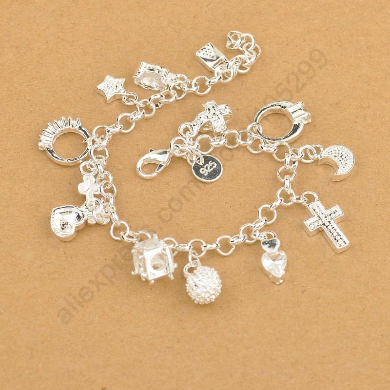 JEXXI Exquisite Top Quality 100% 925 Sterling Silver Charm Pendants Woman Bracelet,Nice Cross Moon Heart Clock Pendant Jewelry
