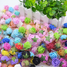 50Pcs 2cm Mini PE Foam Rose Artificial Silk Flower Heads With Leaves Handmade Bouquet DIY Wreath Supplies Wedding Party Decor