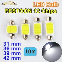 Hippcron adorno COB bombilla LED 31mm 36mm 39mm 42mm C5W DC12V 12 Chips Color blanco Coche luz Domo Interior de la lámpara automática (10 piezas)
