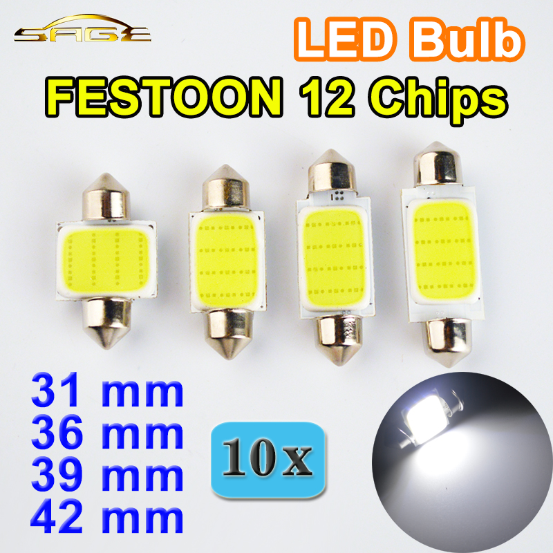 flytop 10 PCS 31mm 36mm 39mm 42mm C5W DC12V FESTOON COB 12 Chips White Color Car LED Bulbs Auto Lamp Interior Dome Light