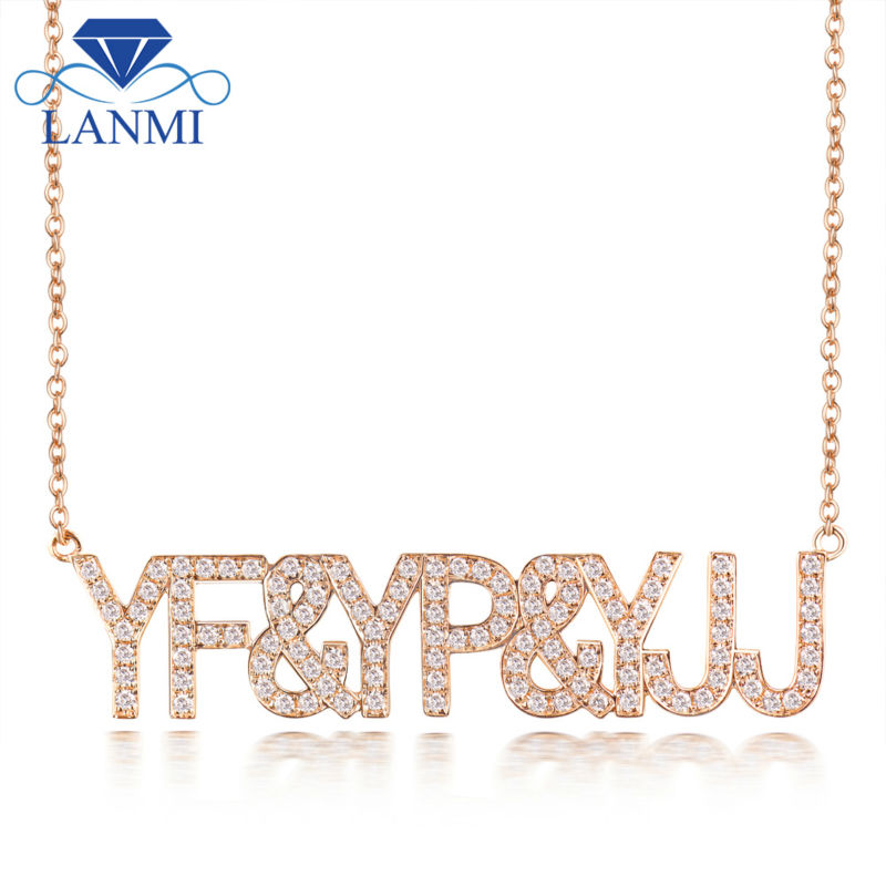 New DIY Letter Diamond Necklace Pendant 18K Rose Gold Special Jewelry for Girl WP058 yoursfs 18k rose white gold plated letter best mum heart necklace chain best mother s day gift
