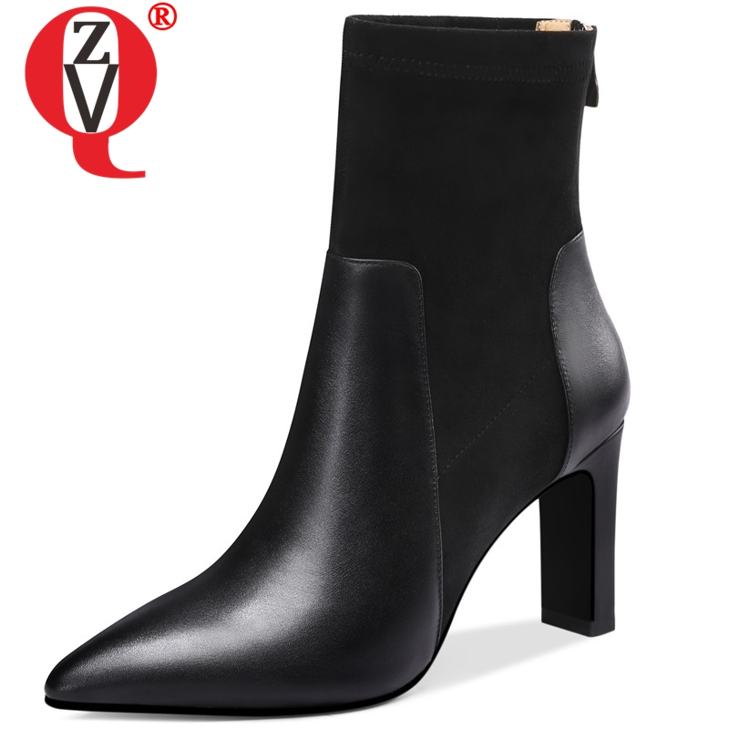 ZVQ newest fashion sexy genuine leather ankle boots Video show super high strange style black and