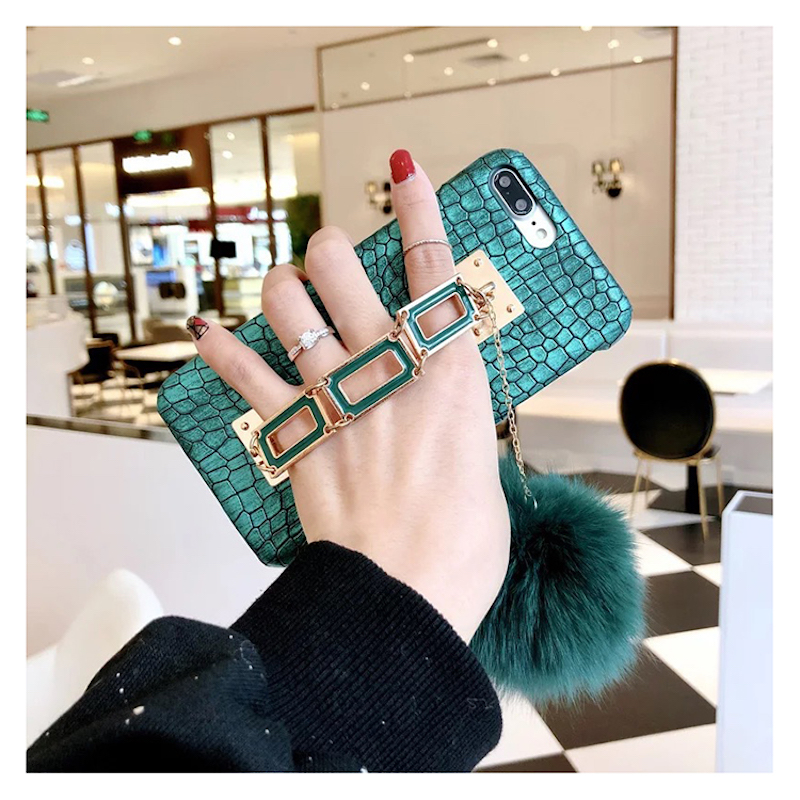 Ingenious Fancy Luxury square chain bracelet green fox furry pompom leather phone case for iPhone 6 6s 7 8 plus X(China)