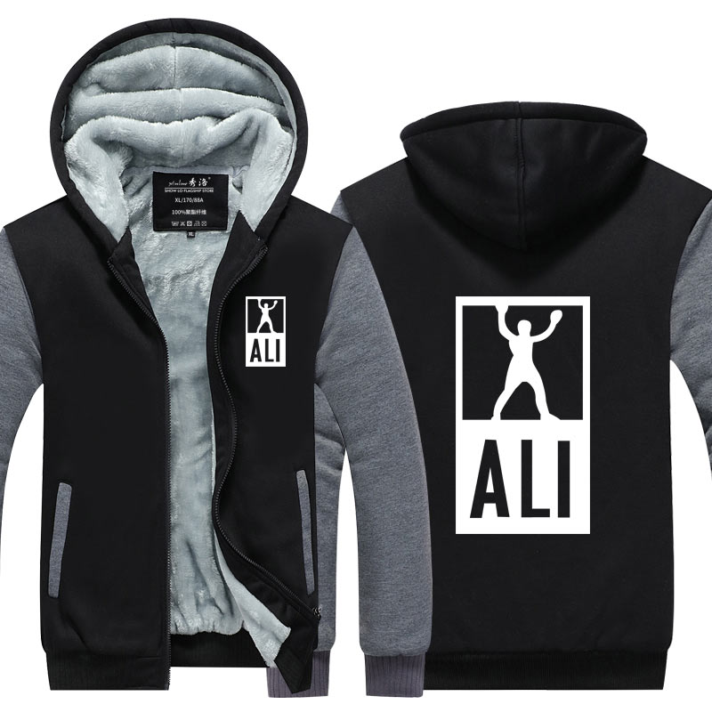 New Winter Hoodies Men MUHAMMAD ALI Jacket Fitness Casual font b clothing b font MMA Thicken
