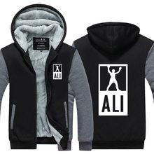 New Winter Hoodies Men MUHAMMAD ALI Jacket  Fitness Casual clothing MMA Thicken Zipper Men's Coat  USA EU size Plus size
