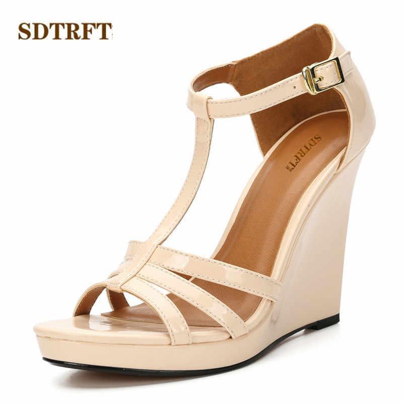 SDTRFT zapatos mujer 11 センチメートルハイヒールの靴の女性はセクシーな t-ストラップドレスサンダルハイヒールプラス: 36-41 42 43 sandalias