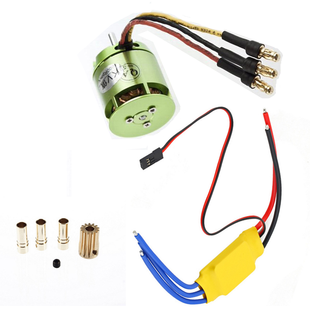 1set 4000KV Brushless Motor green For All ALIGN TREX T-rex 450 & 30A ESC For Rc Helicopter Wholesale 4set lot universal rc quadcopter part kit 1045 propeller 1pair hp 30a brushless esc a2212 1000kv outrunner brushless motor