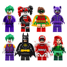 8pcs lot Super Hero Batman movie Mini Set Joker Harley Quinn Robin Figure Building Block Bricks Toy Compatible with Legoe