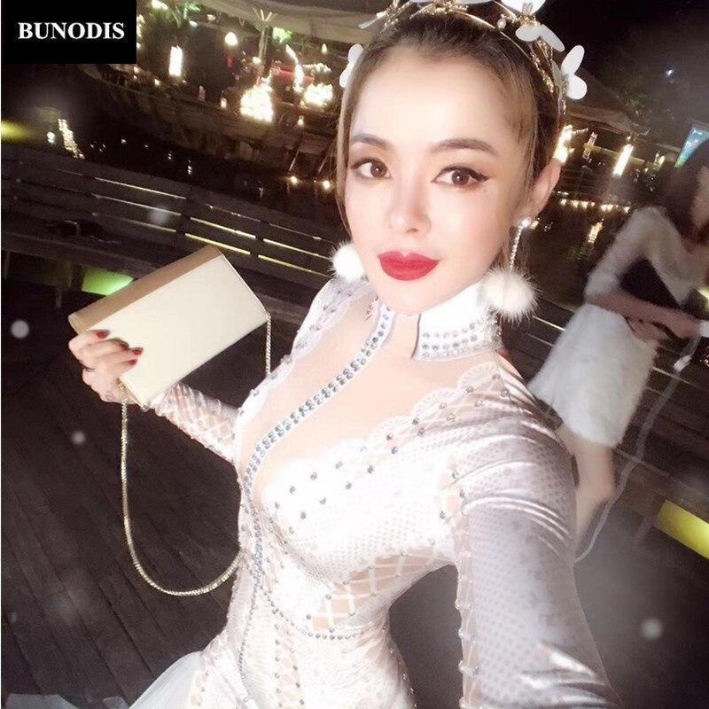 BU006 Белый боди сверкающими кристаллами ночной клуб одежда для вечеринки Этап одежда костюм Bling Для женщин наряд на день рождения одеты ...