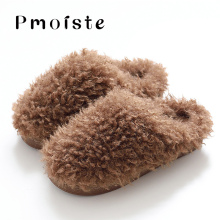 Plus Size 45-47 Fashion Solid Fur Slippers Winter Wool TPR Cozy Home Slippers For Boys Casual Short Plush Zapatillas Hombre