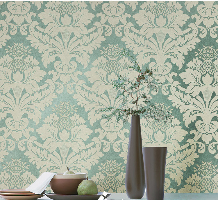 Non Woven Clic Metallic Flock Damask Wallpaper Glitter Green Background Wall Wallcovering Living Room Bedroom In Wallpapers From Home