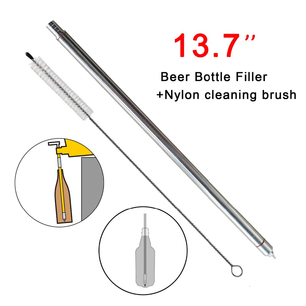 Homebrew Beer Bottle Filler Stainless Steel Bottle Filler With Spring Loaded 13.7