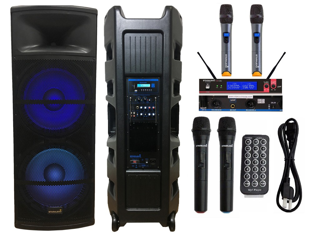 staraudio 5000w dual 15 pa dj powered light speaker party ktv audio speaker 2 channel wireless. Black Bedroom Furniture Sets. Home Design Ideas