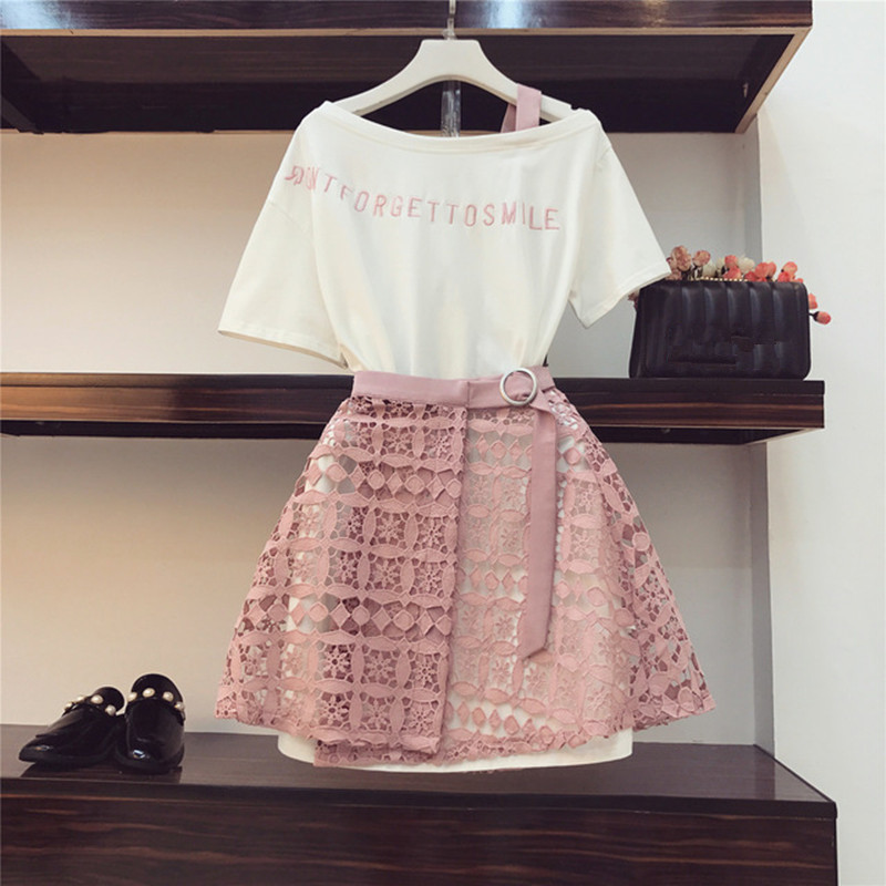 2020 New Fashion Summer Women's Letter Embroidery Off Shoulder Cotton Long T-shirt + Lacing Up Hollow Lace Skirt 2 Pieces Set