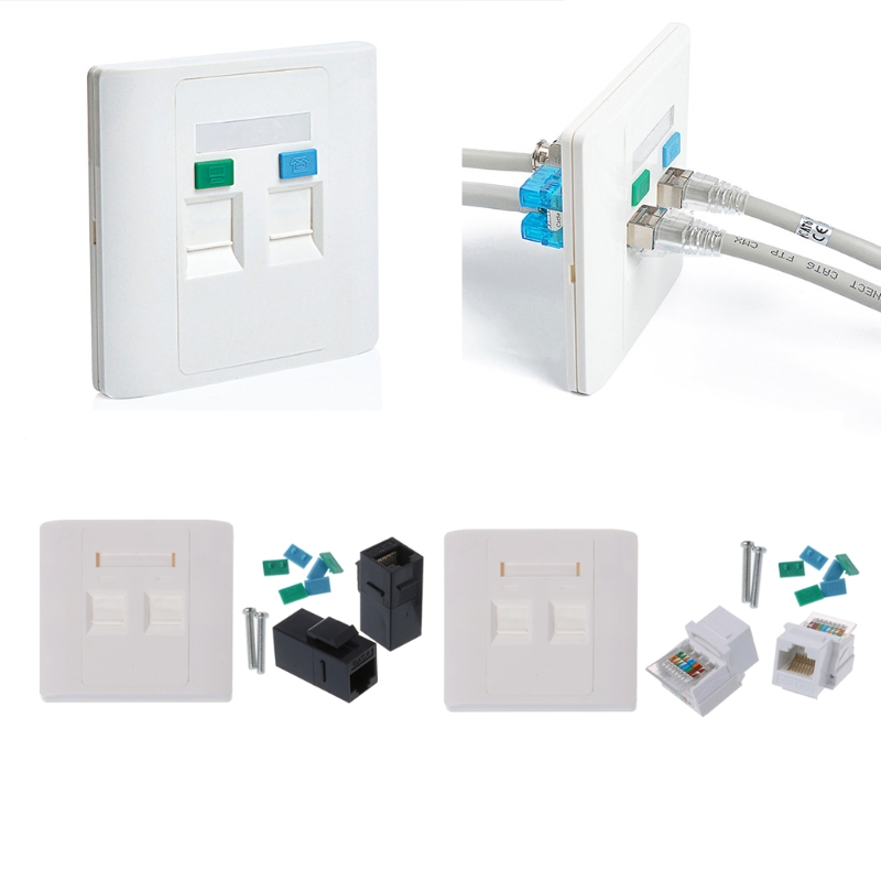 Network Tool Kit 2 Ports CAT6 RJ45 Network Wall Plate With Female To Female Connector