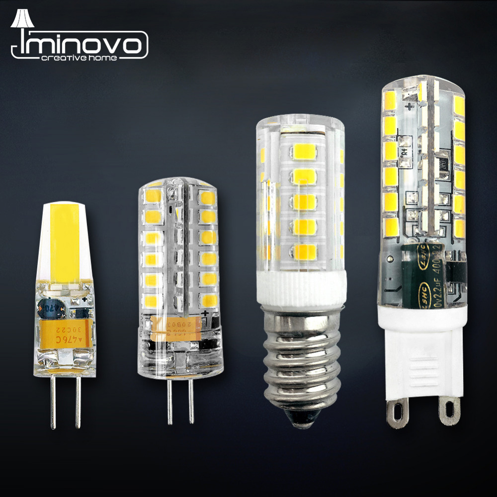 IMINOVO G4 LED G9 LED E14 Light Bulb COB Chandelier Lamp 3W 6W 9W Dimmable AC/DC 12V 220V Halogen Cool Warm White Silicone cob light led cob bulb light g4 cob lamp 3w 5w 7w 9w 12w led light bulbs cob spotlight dc 12v warm white white g4 led bulb lamp