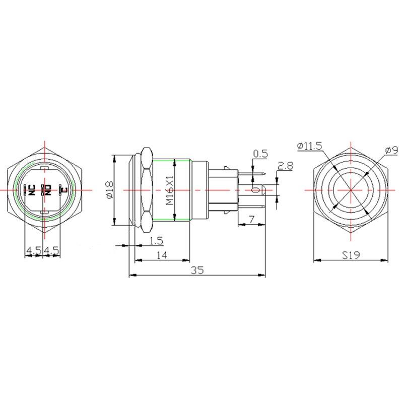 16mm Alumina Black Body Waterproof Press Power Metal Push Button Switch LED Light 3V 5V 12V 24V 220V Fixation Latching Self-Lock