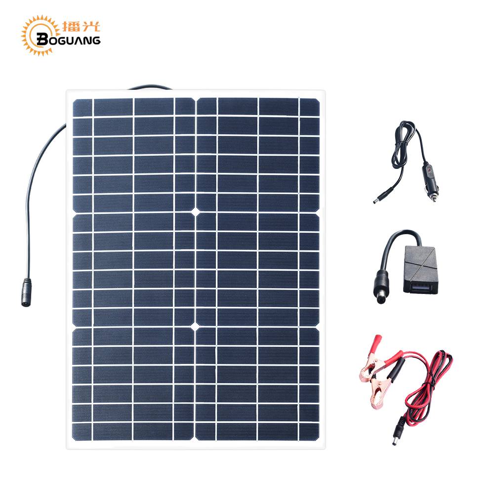 BOGUANG 30W 18V Flexible Solar Panel 5V USB 30 Watt Small light solpanel Battery Outdoor connector DC 12v Charger ZonnepaneelBOGUANG 30W 18V Flexible Solar Panel 5V USB 30 Watt Small light solpanel Battery Outdoor connector DC 12v Charger Zonnepaneel
