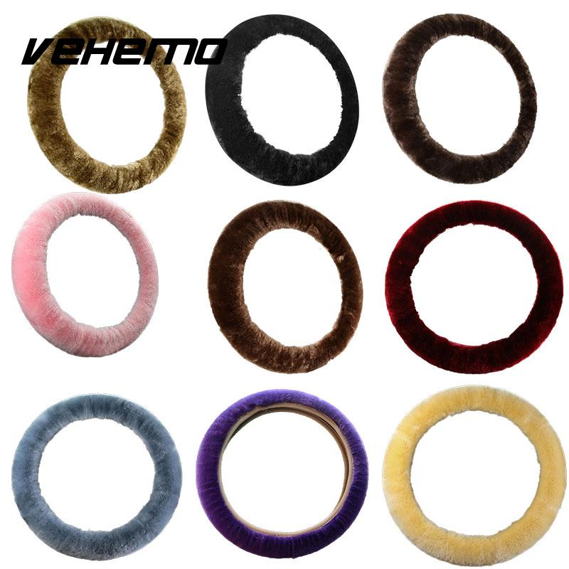 Vehemo 3pcs/1set Wool Car Steering Wheel Cover Sets Sleeves Pillow Winter Supplies Warm