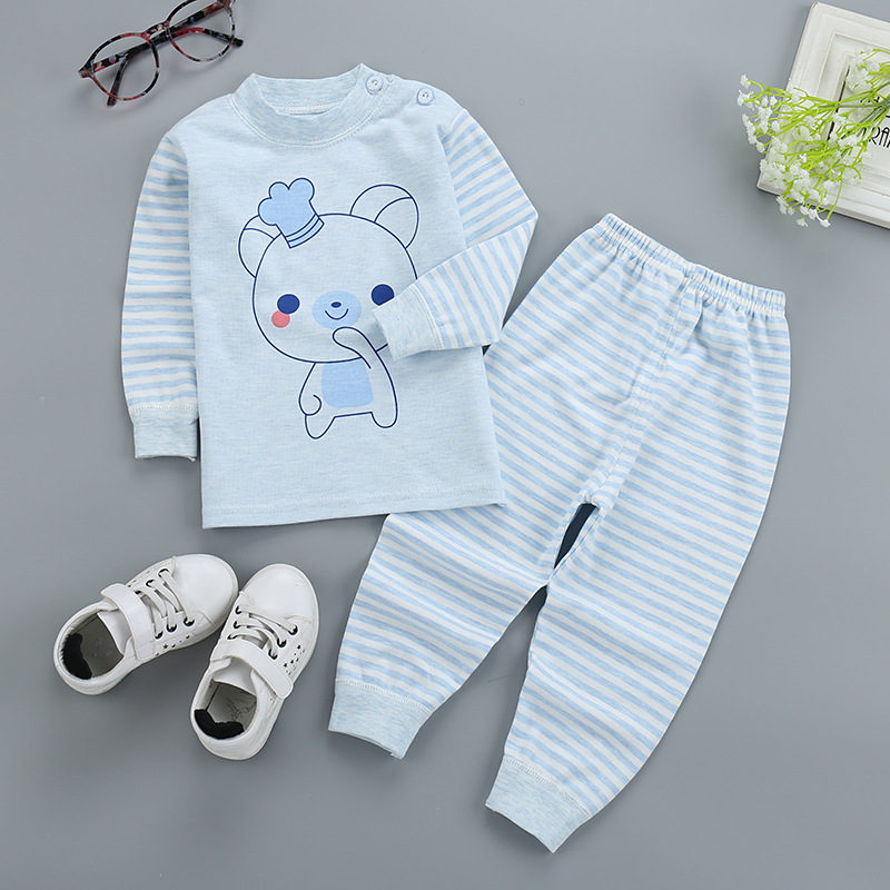 Hot selling blue pink Cartoon stripe Long sleeve cotton pullover Baby's Sets