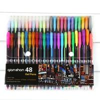 48 Color Gel Pens Set Refills School Stationery Fine Glitter Metallic Pastel Pens Sketch Drawing Color