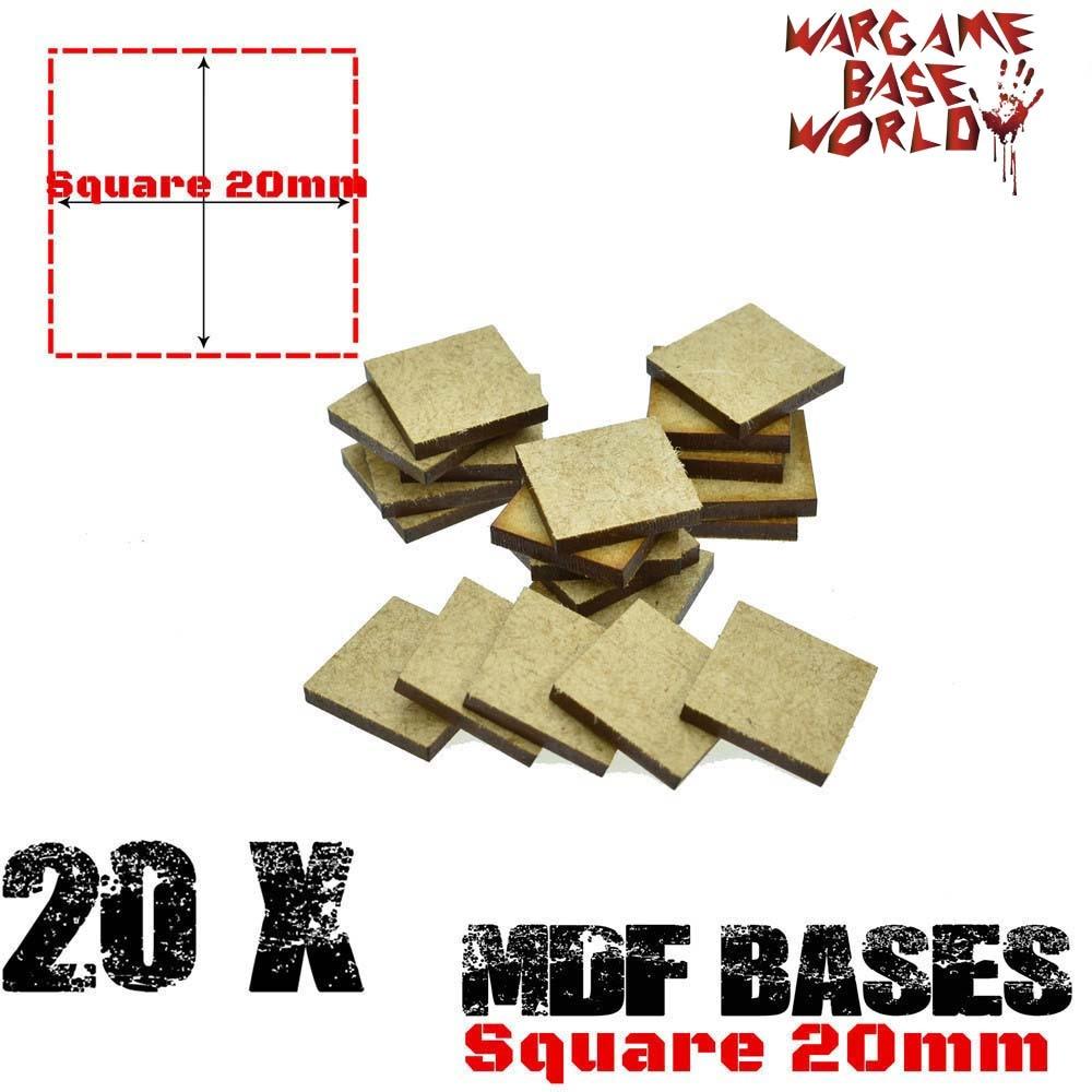 MDF Bases - 20mm Square Bases- Basing Laser Cut Wargames Wood