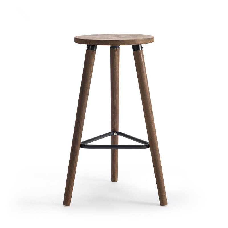 Industrial Vintage Antique Bar Stool Chair Height 66cm Round Seat Wooden Loft Style Furniture Counter Bar Stool Leg Solid Wood homall bar stool walnut bentwood adjustable height leather bar stools with black vinyl seat extremely comfy with seat back pad